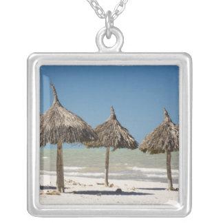 メキシコ、ユカタン半島、Progreso。 屋根ふき材料 シルバープレートネックレス