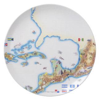 メキシコ、中央アメリカおよびカリブの地図 プレート