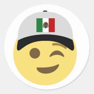 メキシコEmojiの野球帽 ラウンドシール