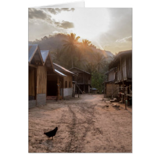 メコン川、ラオスの田園川岸の村 グリーティングカード