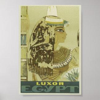 メスのファラオが付いているルクソルエジプトへのヴィンテージのはえ ポスター