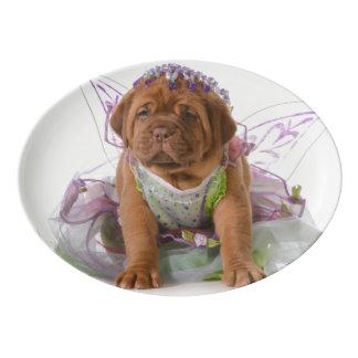 メスの子犬- Dogue De Bordeaux Puppy 磁器大皿