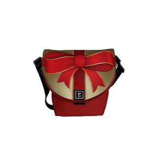 メッセンジャーバッグ-金ゴールドの赤い弓及びリボン メッセンジャーバッグ
