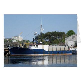 メッセージカードのポーツマス港のボート カード