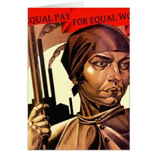 メッセージカード女性のヴィンテージの対等の仕事に対する対等な賃金 カード