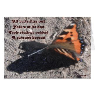 メッセージカードLadeeのバセット犬によるすべての蝶残り カード