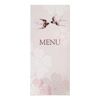 メニューを結婚している桜桜及び愛つばめ 10.2 X 23.5 インビテーションカード