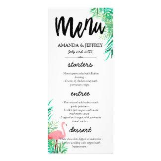 メニューを結婚している水彩画のフラミンゴ及びシュロの葉 ラックカード