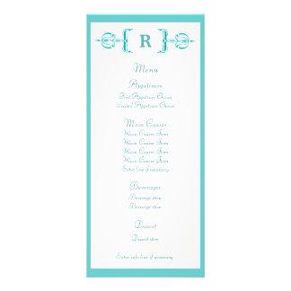 メニューを結婚するターコイズのモノグラムのヴィンテージ パーソナライズラックカード