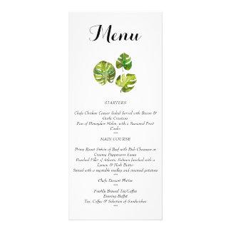 メニューを結婚する水彩画の熱帯葉 ラックカード