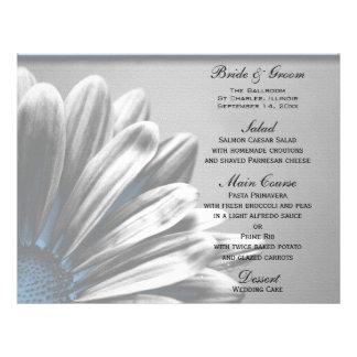 メニューを結婚する淡いブルーの花柄のハイライト チラシ