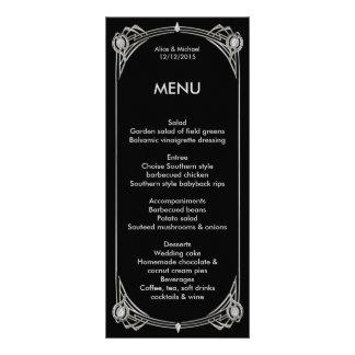 メニューアールデコのGatsbyのスタイル、アールデコ、黒い銀 ラックカード
