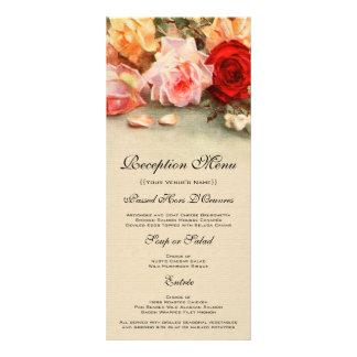 メニューカード、旧式なバラの花を結婚するヴィンテージ ラックカード