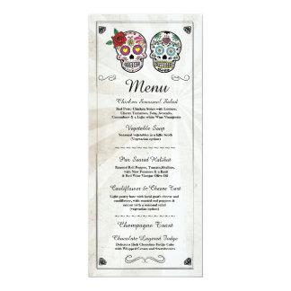 メニュー結婚披露宴の素朴な砂糖のスカルメニュー 10.2 X 23.5 インビテーションカード