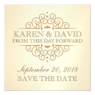 メモを結婚する日付のヴィンテージスクロールを救って下さい マグネットカード