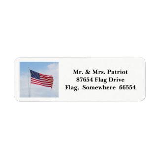 メモリアルデーの旗のラベル2017年 返信用宛名ラベル