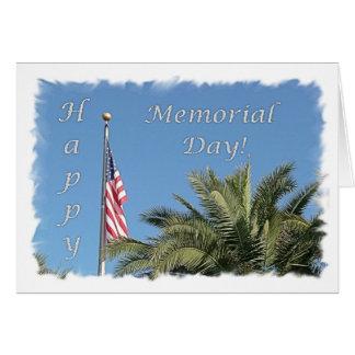 メモリアルデー米国の旗のやしメッセージカード カード