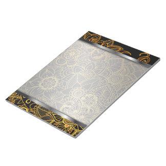 メモ帳の花の落書きの金ゴールドG523 ノートパッド