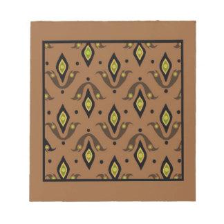 メモ帳、ブラウン、黒、緑、金ゴールドパターン ノートパッド