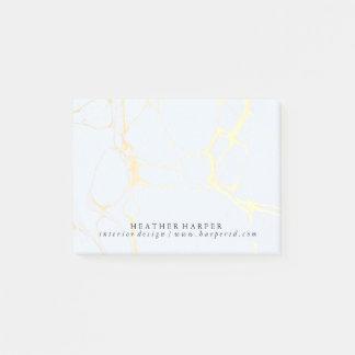メモ帳-青及び金ゴールドの大理石 ポストイット