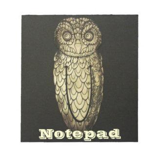 メモ帳-黒い背景の金属のフクロウ ノートパッド