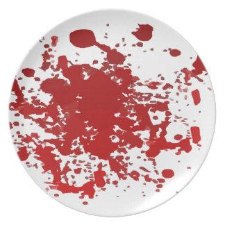 メラミンプレートのハロウィンの血の(ばちゃばちゃ)跳ねる プレート