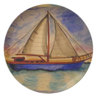 メラミンプレートの日没のヨット プレート