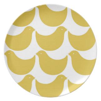 メラミン春の鳥のシルエットのプレート-黄色 プレート