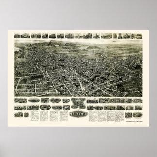 メリデンのCTのパノラマ式の地図- 1918年 ポスター