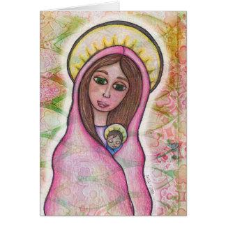 メリーおよびベビーのイエス・キリストのクリスマスカード カード