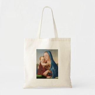 メリーおよびベビーイエス・キリストのポートレート トートバッグ