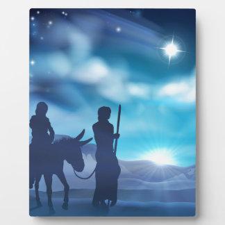 メリーおよびヨセフの出生のクリスマスのイラストレーション フォトプラーク
