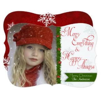 メリーすべてカスタムなクリスマスの写真カード カード