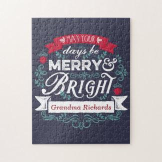 メリーで及び明るいクリスマスのタイポグラフィのカスタムの旗 ジグソーパズル