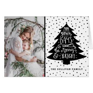 メリーで及び明るいクリスマスツリー|の休日の写真カード カード