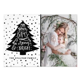 メリーで及び明るいクリスマスツリー|の休日の写真カード 12.7 X 17.8 インビテーションカード