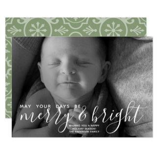 メリーで及び明るい書道-完全な横の写真 カード