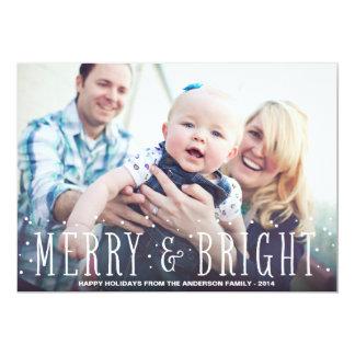 メリーで及び明るい降雪%PIPE%の休日の写真カード カード