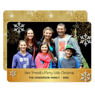メリーで小さいクリスマスのカスタムな写真カード カード