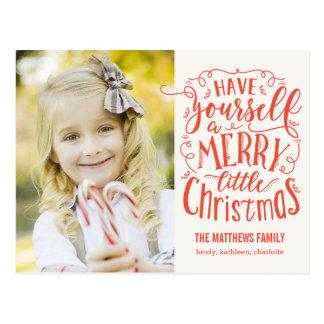 メリーで小さいクリスマスの休日の郵便はがき 葉書き