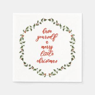 メリーで小さいクリスマス-ヒイラギのリース スタンダードカクテルナプキン