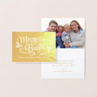 メリーで、明るいクリスマスの手書きの原稿 箔カード