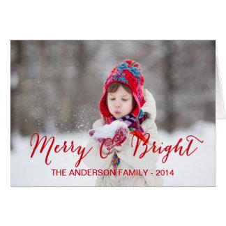 メリーで、明るい写真の休日の挨拶状 グリーティングカード