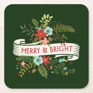 メリーで、明るい花のクリスマスのカクテルのコースター スクエアペーパーコースター