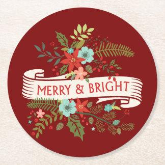 メリーで、明るい花のクリスマスのカクテルのコースター ラウンドペーパーコースター