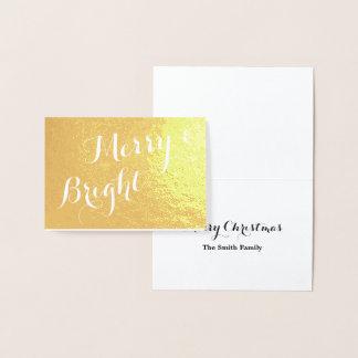 メリーで、明るい金ゴールドのクリスマス 箔カード