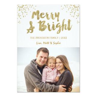 メリーで、明るい金ゴールドのグリッターのクリスマスカード カード