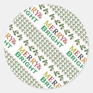 メリーで、明るい2タイポグラフィのクリスマスパターン ラウンドシール
