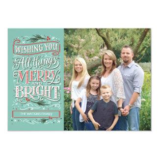 メリーなすべての事および明るいクリスマスの写真カード カード