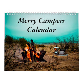 メリーなキャンピングカーのキャンプの写真のカレンダー カレンダー